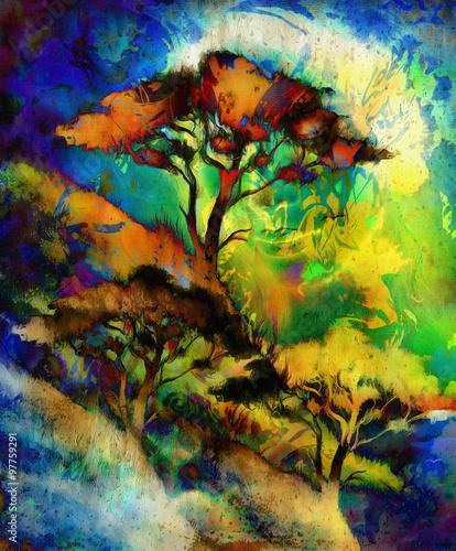 bogini-kobieta-z-ozdobna-twarza-i-drzewem-wielokolorowe-abstrakcjonistyczne-tlo-medytacyjne-zamkniete-oczy-kolor