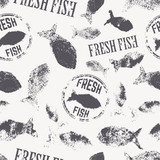 Vector seamless pattern with the fish