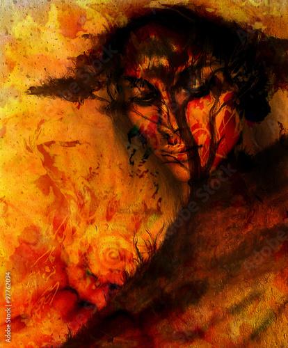 bogini-kobieta-z-ozdobna-twarz-i-drzewo-i-kolor-abstrakcyjne-tlo-medytacyjne-zamkniete