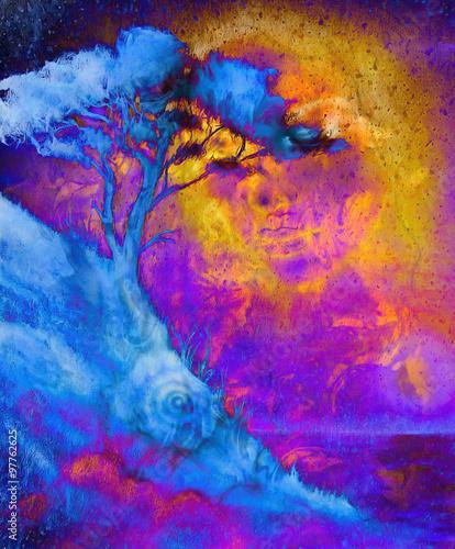 bogini-z-ozdobna-twarza-i-drzewem-wielobarwny-abstrakcyjny-obraz