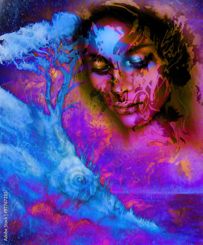 Goddess Woman With Ornamental Face And Tree And Color