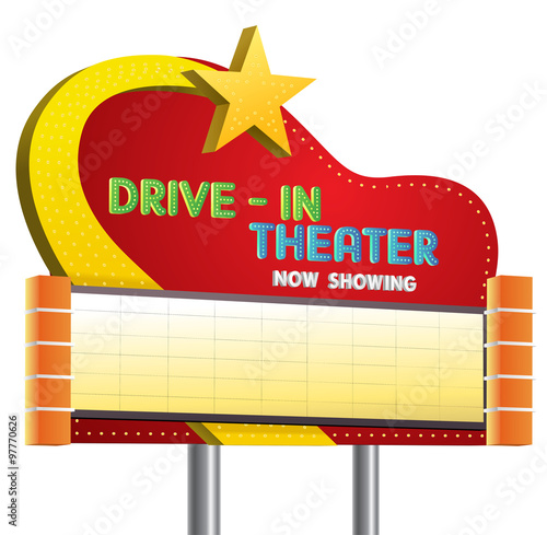 Photo  drive in theater sign banner