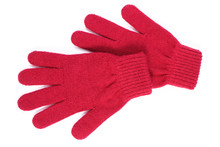 Pair Of Woolen Gloves For Woman On White Background