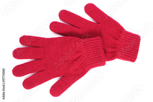 Fotografia, Obraz  Pair of woolen gloves for woman on white background