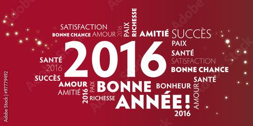 Poster  Carte de voeux – bonne année 2016 - rouge.