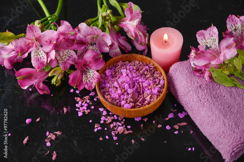 Foto op Aluminium Spa Spa and wellness setting with salt, candles and towel, petals