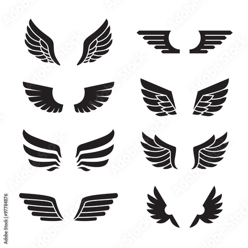 Wings black icons vector set. Modern minimalistic design. Wall mural