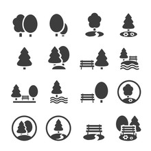 Park Icon Set. Trees, Forest, Icons