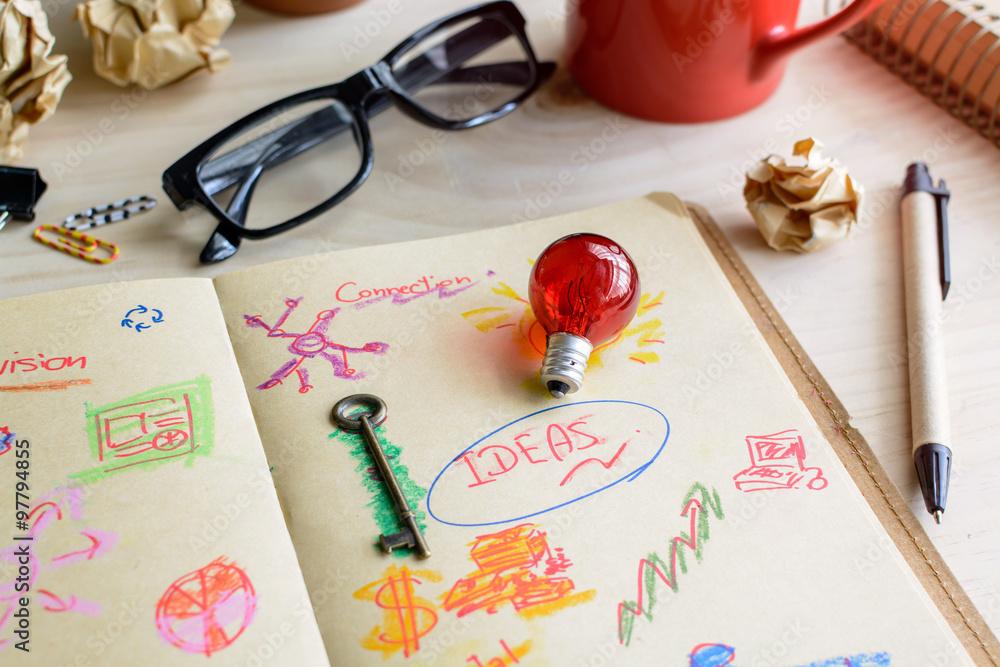 Fototapety, obrazy: Businessman desk office marketing Planner and Strategy idea