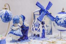Blue Delftware Christmas Tree Toy Netherlands Closeup (shallow DOF)