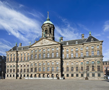 The Royal Palace On Dam Square In Amsterdam, Netherlands.