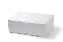 Styrofoam Box Isolated On Wood Background