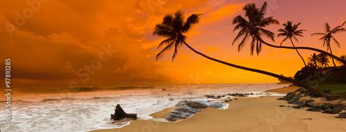 Foto auf AluDibond Ziegel Sunset over the sea. Panorama
