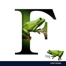 Vector Illustration Of Letter F For Frog Fish Alphabet. English