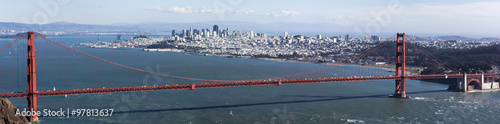 Fotobehang San Francisco Golden Gate bridge seen from Marin County, with view of San Francisco across the bay on a clear winter's day.