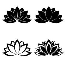 Four Lotus Silhouettes For Des...