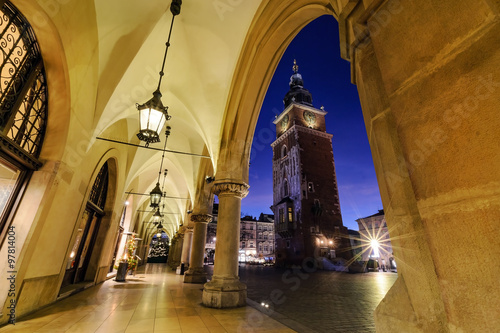 Fototapeta Tower of the Town Hall decorated by the christmas lights. Krakow obraz