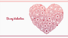 Elegant Valentines Day Card With Lacy Heart. Vector Illustration. Element For Your Design.