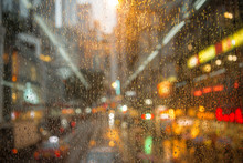 Beautiful Out Of Focus Rain Drop And Bokeh On A Road