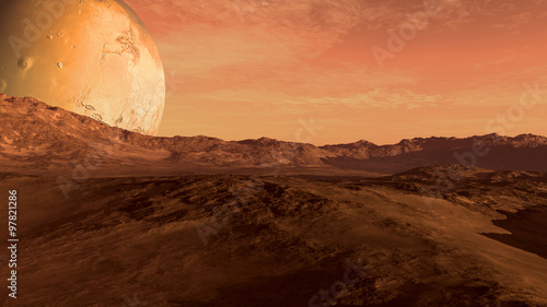 Red planet with arid landscape, rocky hills and mountains, and a giant Mars-like moon at the horizon, for space exploration and science fiction backgrounds. - 97821286
