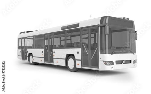 Fototapeta Autobusu egzamin próbny up na białym tle, 3D ilustracja