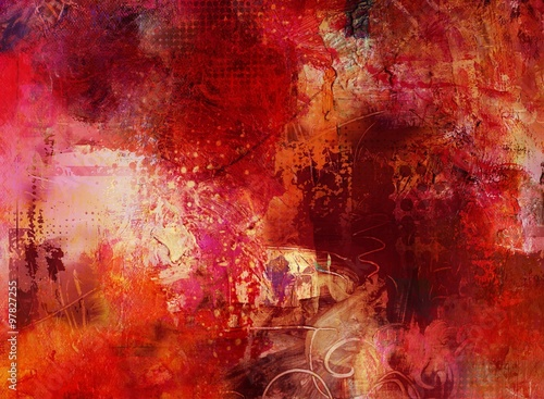Fototapety, obrazy: malerei texturen rot pastos