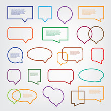 Collection Of Blank Empty Colorful Speech And Thought Bubble Vector Designs With Sample Text