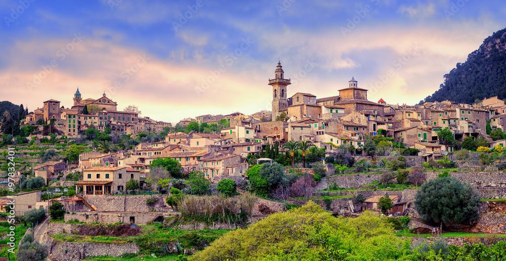 Fototapety, obrazy: Valdemossa, monastery and hilltop town, Mallorca, Spain.