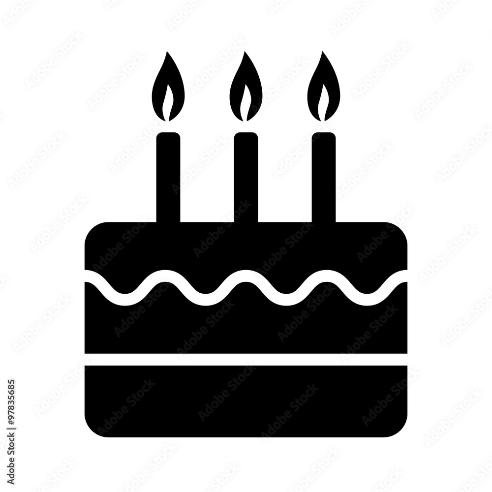 Birthday Celebration Cake With Candles Flat Icon For Apps And Websites Foto Poster Wandbilder Bei EuroPosters