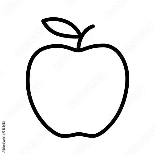 Delicious apple line art icon for apps and websites Fototapeta