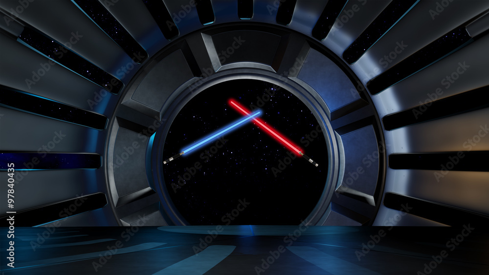 Fotografie, Obraz Lightsaber in space environment, ready for comp of your characters 3d rendering