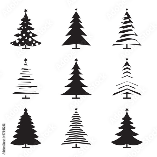 Set Of Black Christmas Tree Vector Illustration And Icons Buy