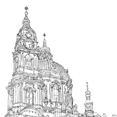 Prague, Czech Republic. St. Nicholas Church Old Town Square in European city, black & white vector sketch hand drawn collection.