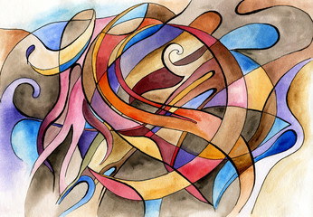 Panel Szklany Abstract artwork with different shapes and lines