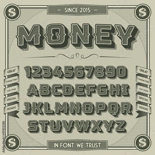 Fotografía  Vintage Money Font with shadow