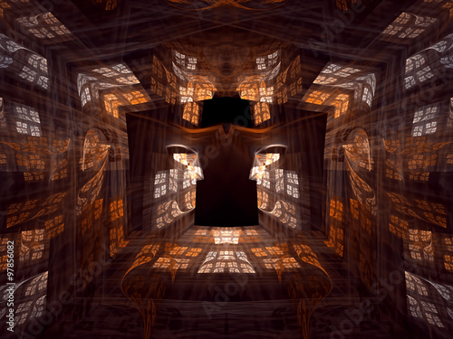 Fotografering  Abstract digitally generated image mysterious room, a corridor o
