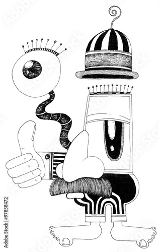 фотография simple black on white drawing - funny cartoon man with big nose and big eyes