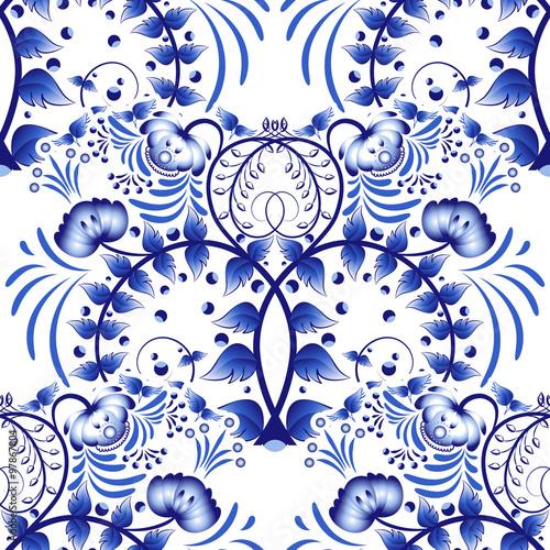 Fényképezés  Seamless pattern based on porcelain painting gzhel style
