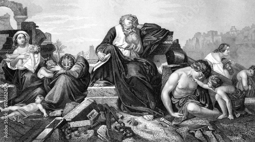 Canvas Print An engraved illustration image of the prophet Jeremiah lamenting over Jerusalem,