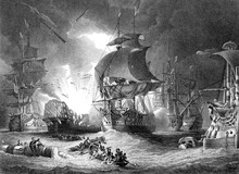 An Engraved  Illustration Image Of  The Battle Of The Nile, From A Vintage Victorian Book Dated 1886 That Is No Longer In Copyright