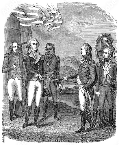 Leinwand Poster An engraved vintage illustration image of a the Surrender of Cornwallis during t