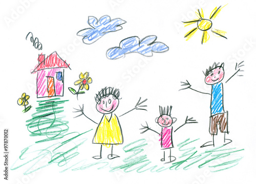 Fotografía  Drawing made by a child, happy family in the countryside