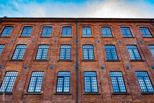 Beautifully renovated facade of an old textile factory