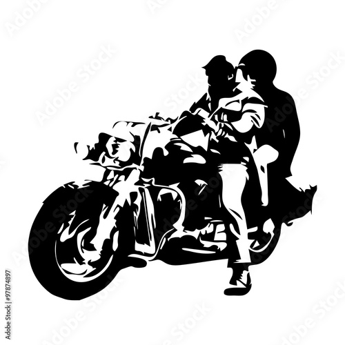 Leinwand Poster Motorcycle chopper, couple on motorbike, vector drawing
