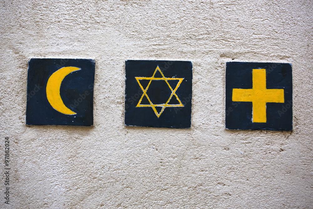 Fotografía Conjunto de 3 símbolos religiosos: la media luna islámica ...