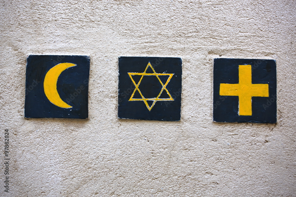 Fototapety, obrazy: Set of 3 religious symbols: islamic crescent, jewish David's star, christian cross (wall sign on the street of Segovia, Spain)