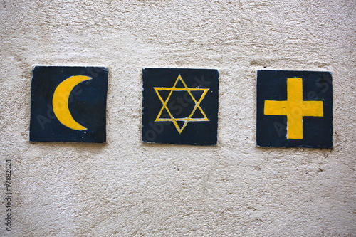 Photo  Set of 3 religious symbols: islamic crescent, jewish David's star, christian cro