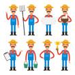 Set characters cheerful farmer