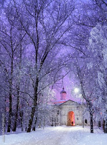 Foto-Leinwand ohne Rahmen - Church of the Presentation in Veliky Novgorod, Russia - winter landscape (von syntheticmessiah)
