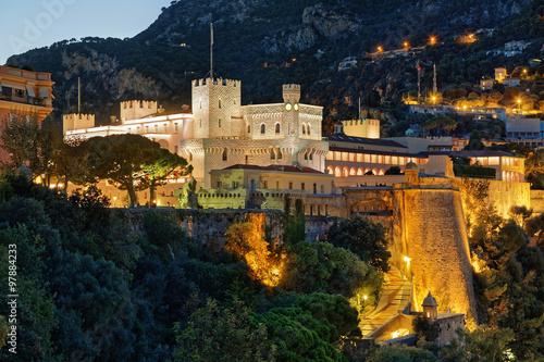 Monaco, Royal Palace by night